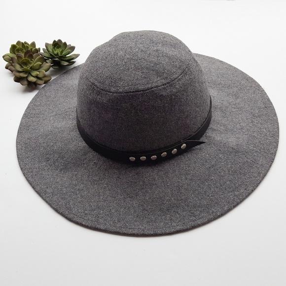 115adffee Boho studded band wool blend floppy hat